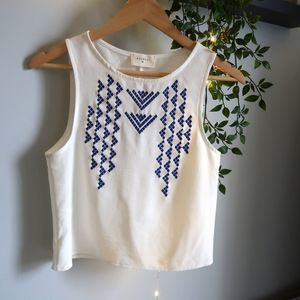 Everly White and Blue Tank Top Blouse